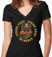 Cobra kai - Strike First - Strike Hard - No Mercy HD Logo Women's Fitted V-Neck T-Shirt