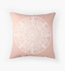 White Mandala on Rose Gold Throw Pillow