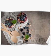 Chia pudding parfait with blackberries and blueberry smoothie and granola Poster