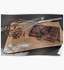 Chocolate chunks. Chocolate bar pieces and whisk on board Poster