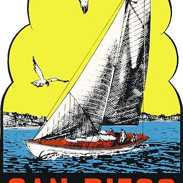 Calcomanía de viaje vintage de San Diego California de hilda74