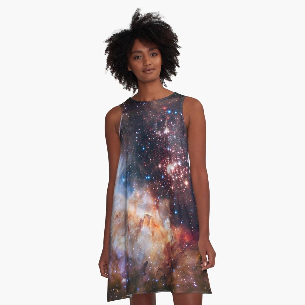Weltraum-Nebel-Galaxie A-Linien Kleid