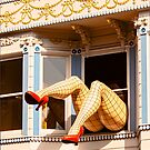Giant Sexy Fishnet Legs Sticking Out of the Window - Haight St. by Buckwhite