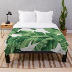 Tropical banana leaves Throw Blanket