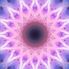 Electric Blue and Pink Mandala by julieerindesign