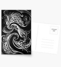 ilona ciunaite,black and white,linework, flow, floral, patterns,  Postcards
