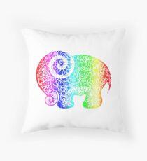 Rainbow Elephant Doodle Throw Pillow