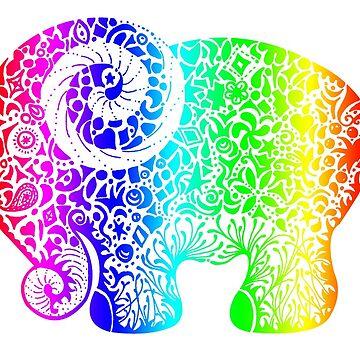 Rainbow Elephant Doodle by JakkiOakes