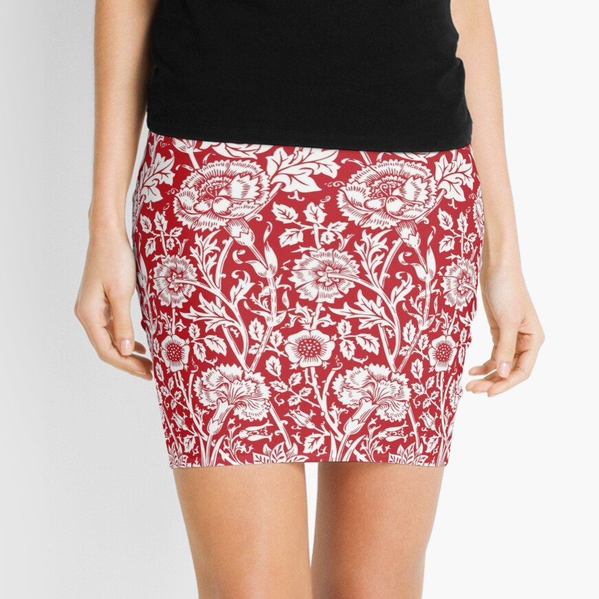William Morris Carnations | Red and White Floral Pattern | Flower Patterns | Vintage Patterns | Classic Patterns | Mini Skirt