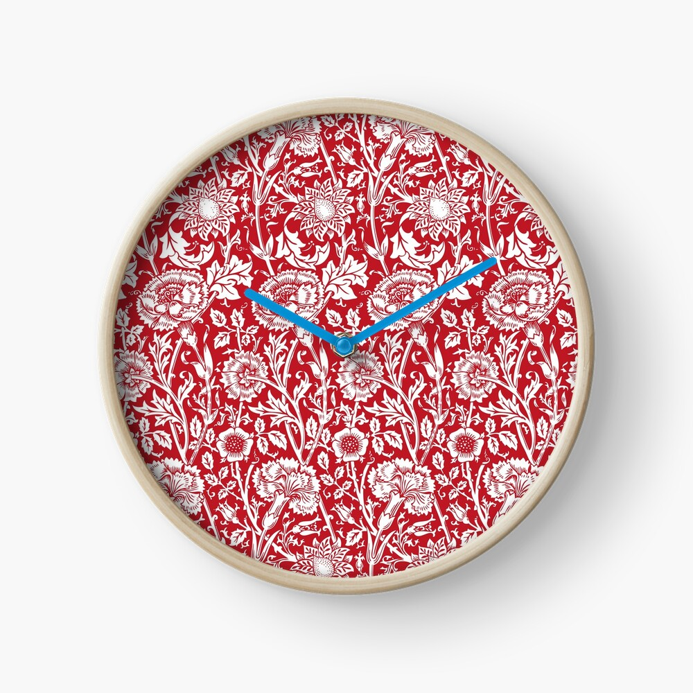 William Morris Carnations | Red and White Floral Pattern | Flower Patterns | Vintage Patterns | Classic Patterns | Clock