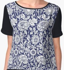 William Morris Carnations | Navy Blue and White Floral Pattern Chiffon Top