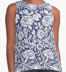William Morris Carnations | Navy Blue and White Floral Pattern Contrast Tank