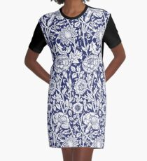 William Morris Carnations | Navy Blue and White Floral Pattern Graphic T-Shirt Dress