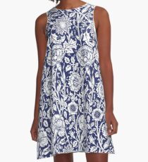 William Morris Carnations | Navy Blue and White Floral Pattern A-Line Dress