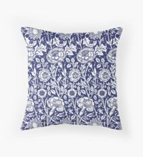 William Morris Carnations | Navy Blue and White Floral Pattern Floor Pillow