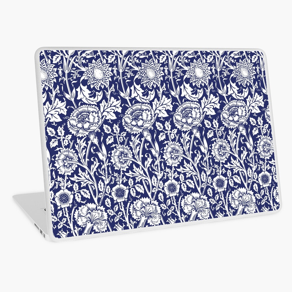 William Morris Carnations | Navy Blue and White Floral Pattern | Flower Patterns | Vintage Patterns | Classic Patterns | Laptop Skin