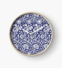 William Morris Carnations | Navy Blue and White Floral Pattern Clock