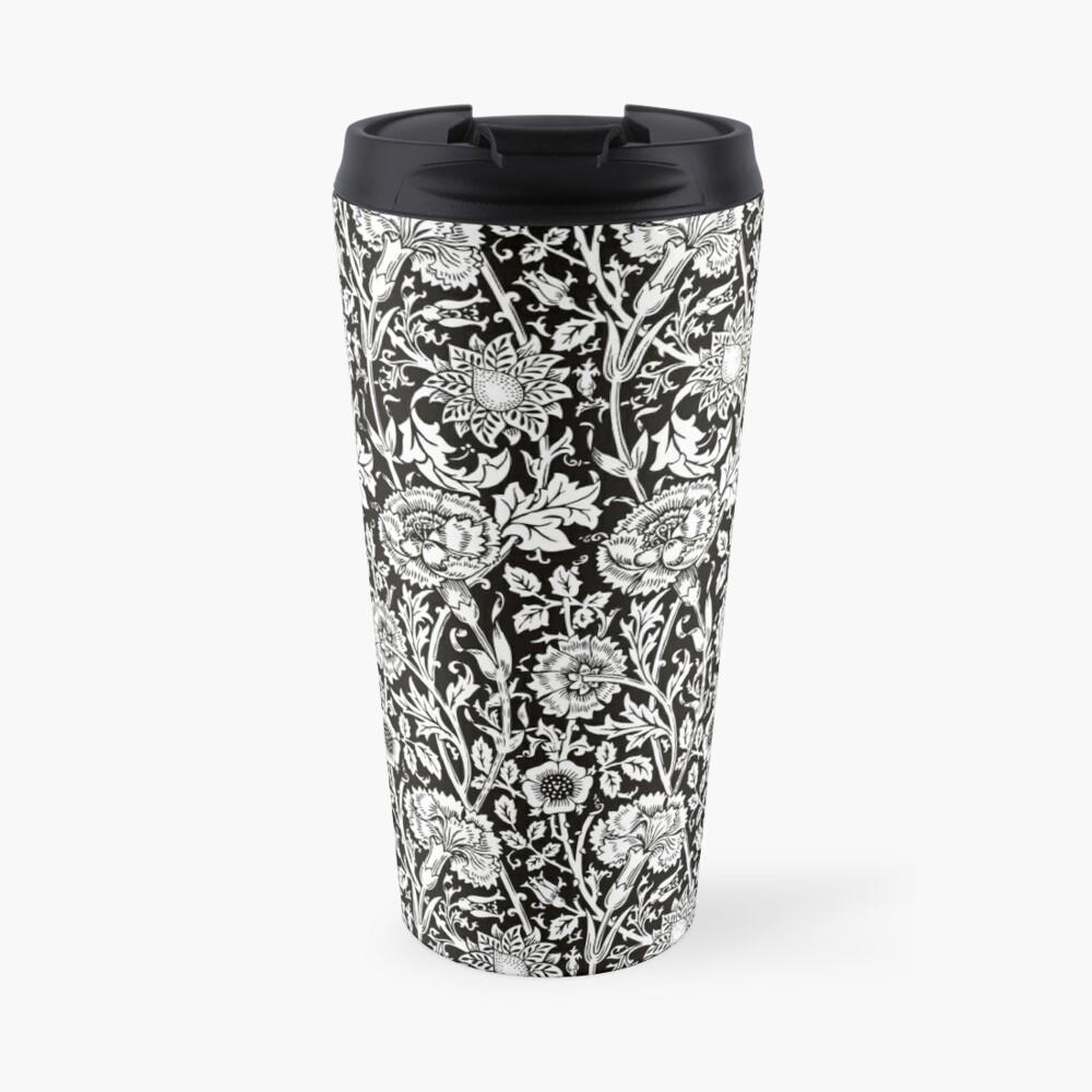 William Morris Carnations | Black and White Floral Pattern | Flower Patterns | Vintage Patterns | Classic Patterns | Travel Mug