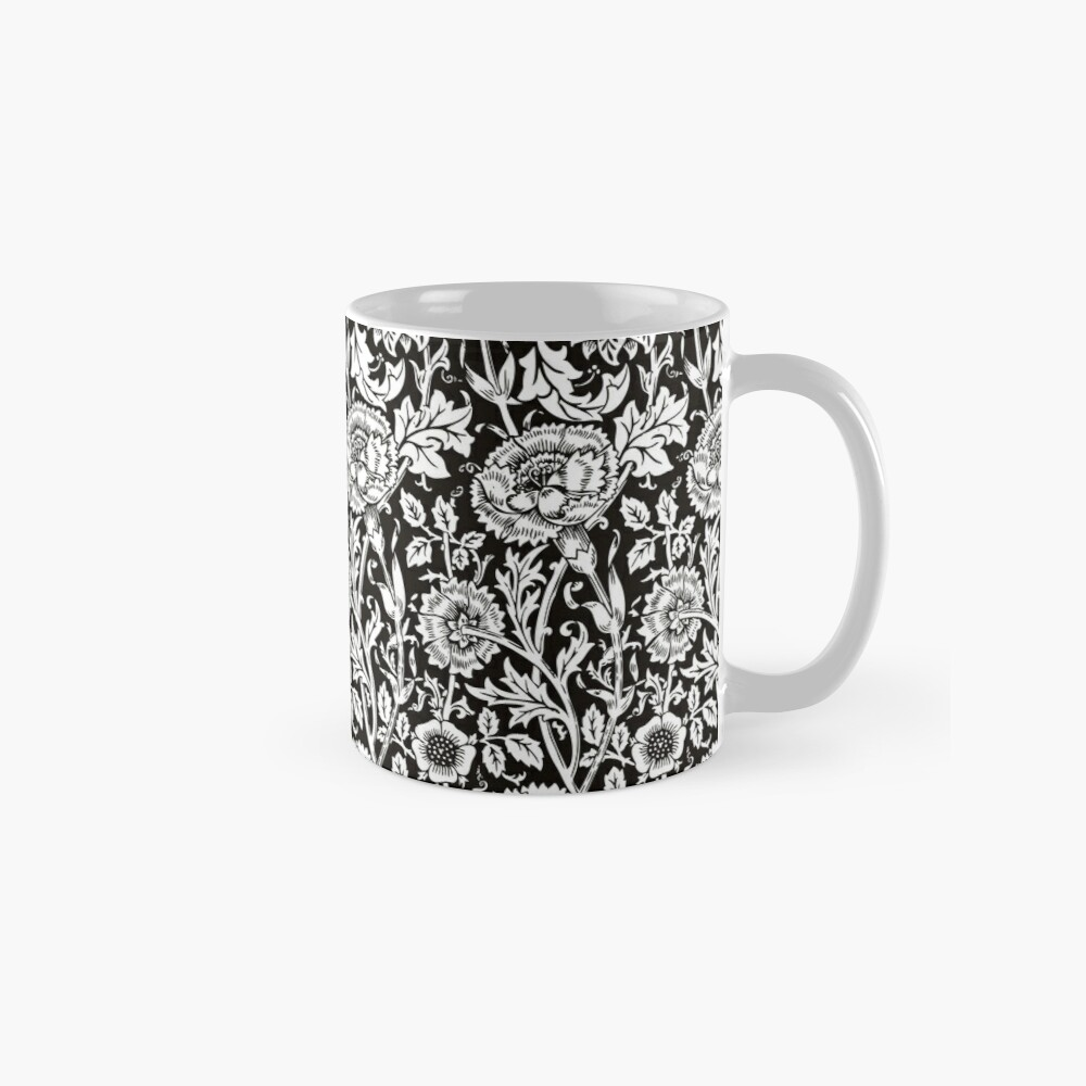 William Morris Carnations   Black and White Floral Pattern   Flower Patterns   Vintage Patterns   Classic Patterns   Classic Mug