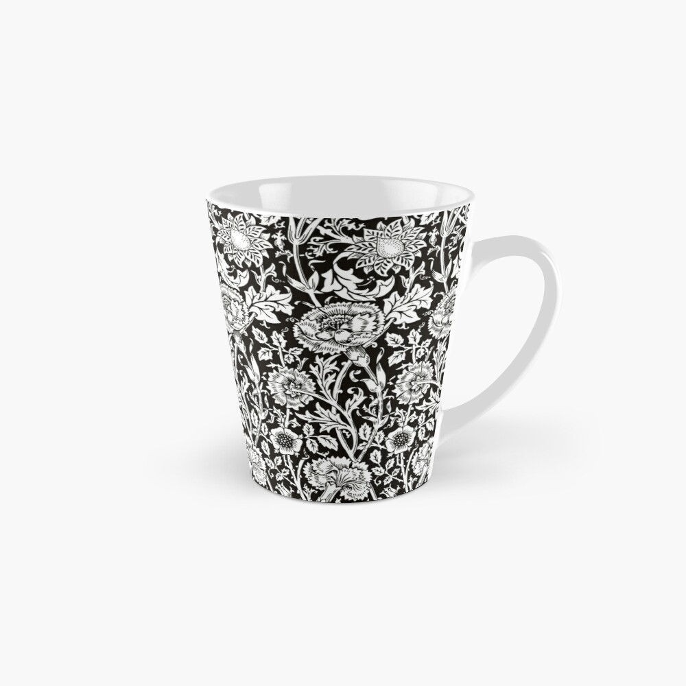William Morris Carnations | Black and White Floral Pattern | Flower Patterns | Vintage Patterns | Classic Patterns | Tall Mug