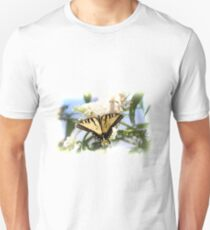 Eastern Tiger Swallowtail Butterfly on white flowers T-Shirt