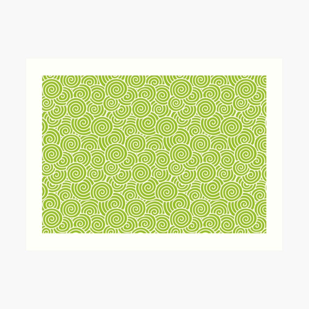 Chinese Spiral Pattern   Swirls   Lime Green and White    Art Print