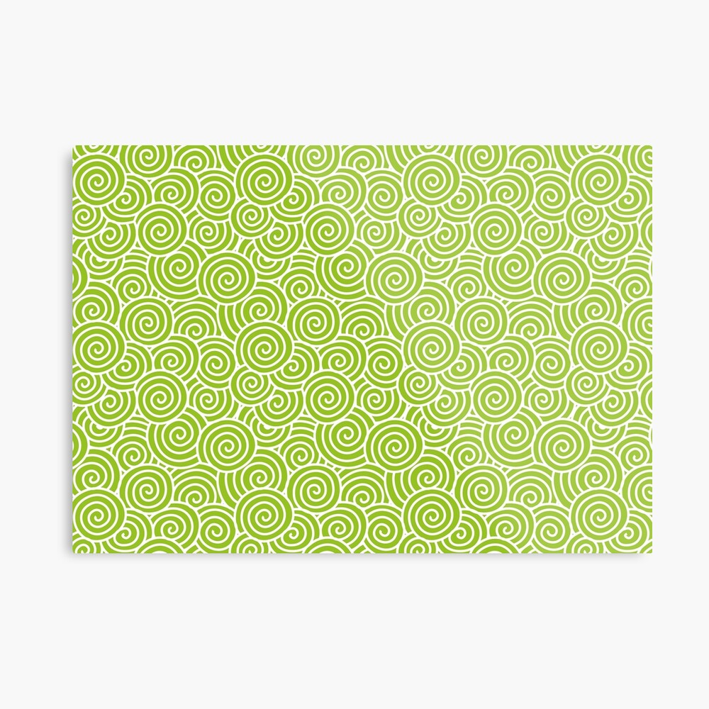 Chinese Spiral Pattern | Swirls | Lime Green and White |  Metal Print