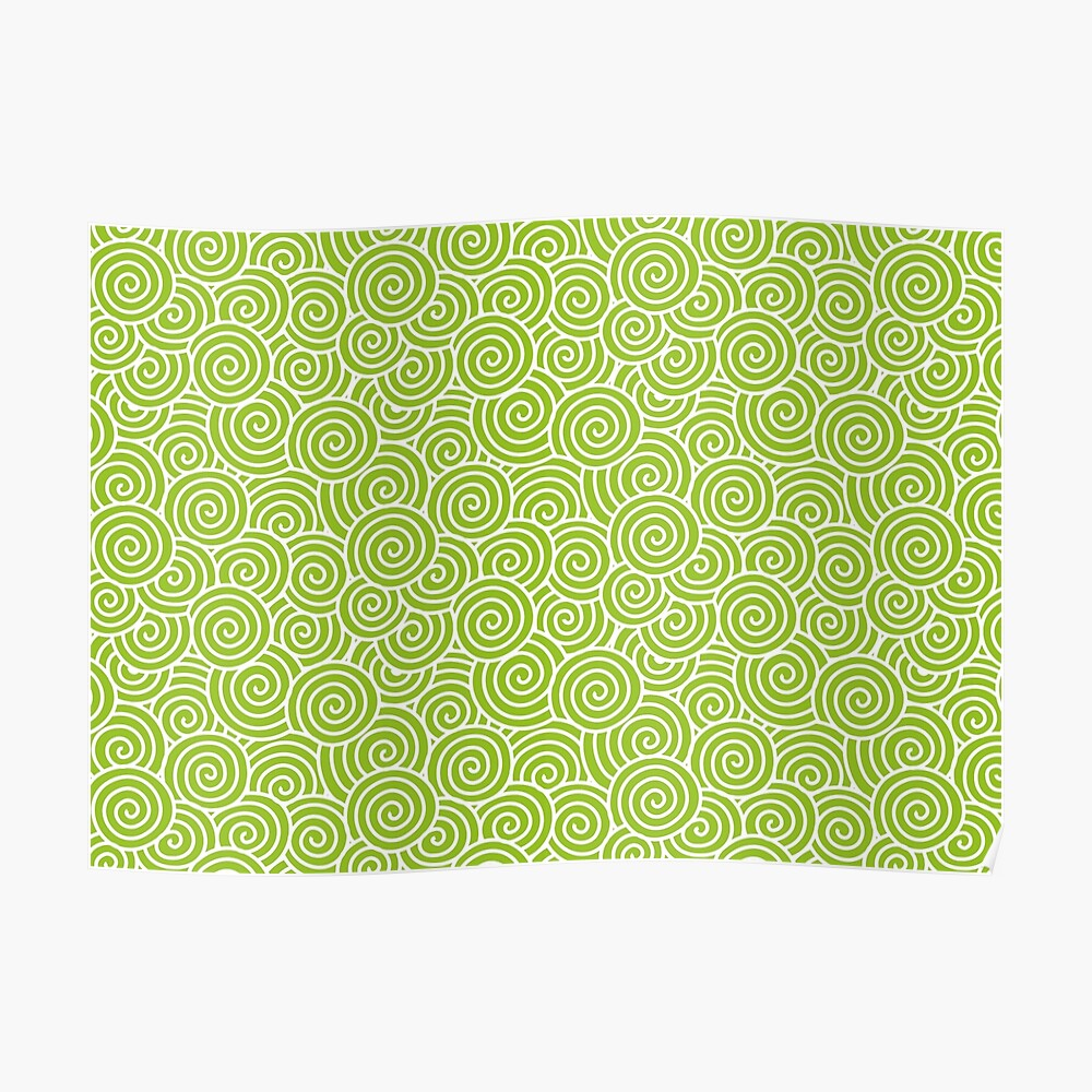 Chinese Spiral Pattern | Swirls | Lime Green and White |  Poster