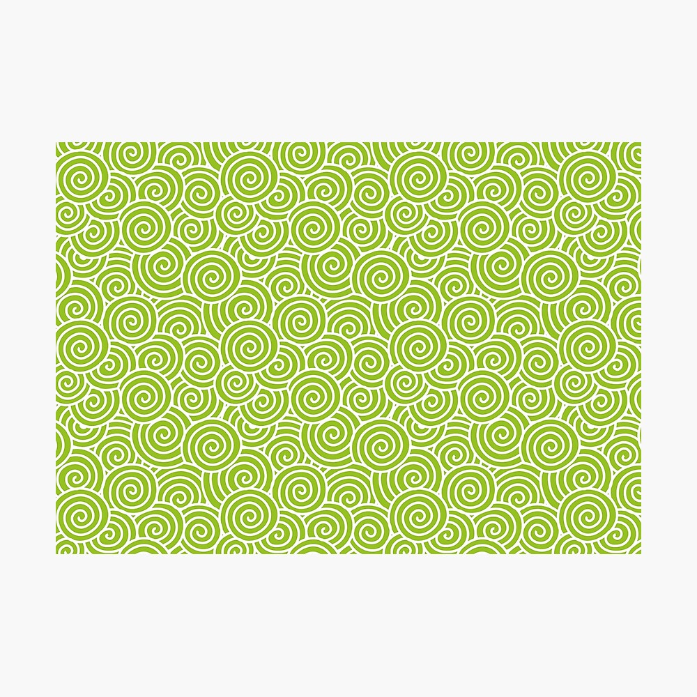 Chinese Spiral Pattern | Swirls | Lime Green and White |  Photographic Print