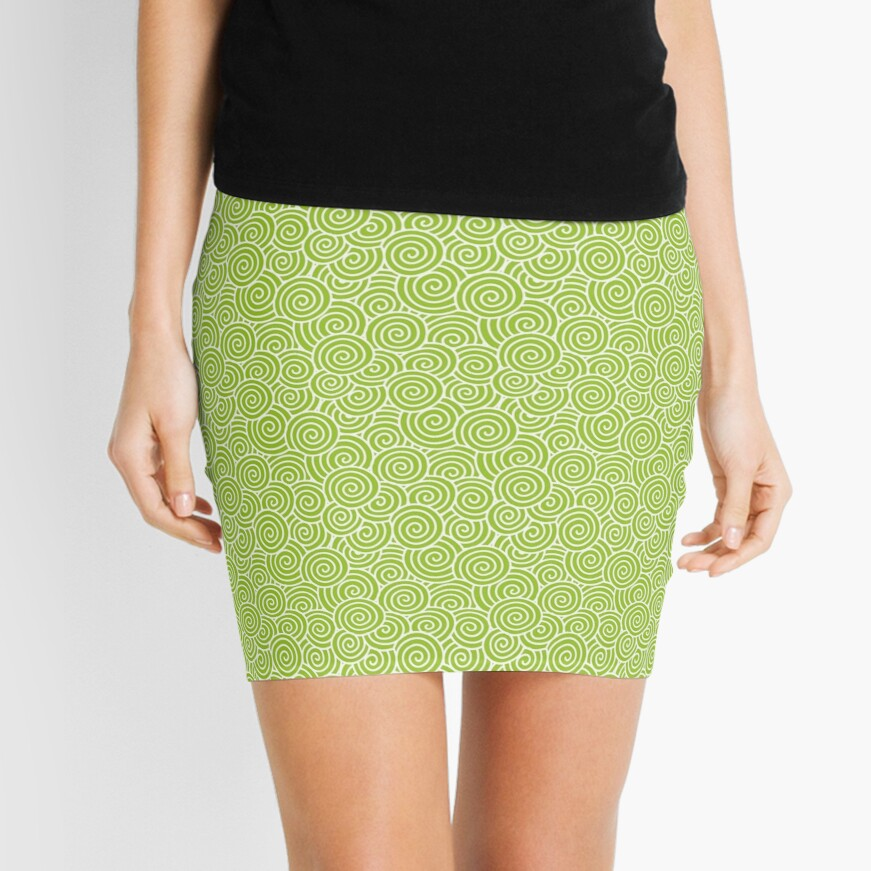 Chinese Spiral Pattern | Swirls | Lime Green and White |  Mini Skirt
