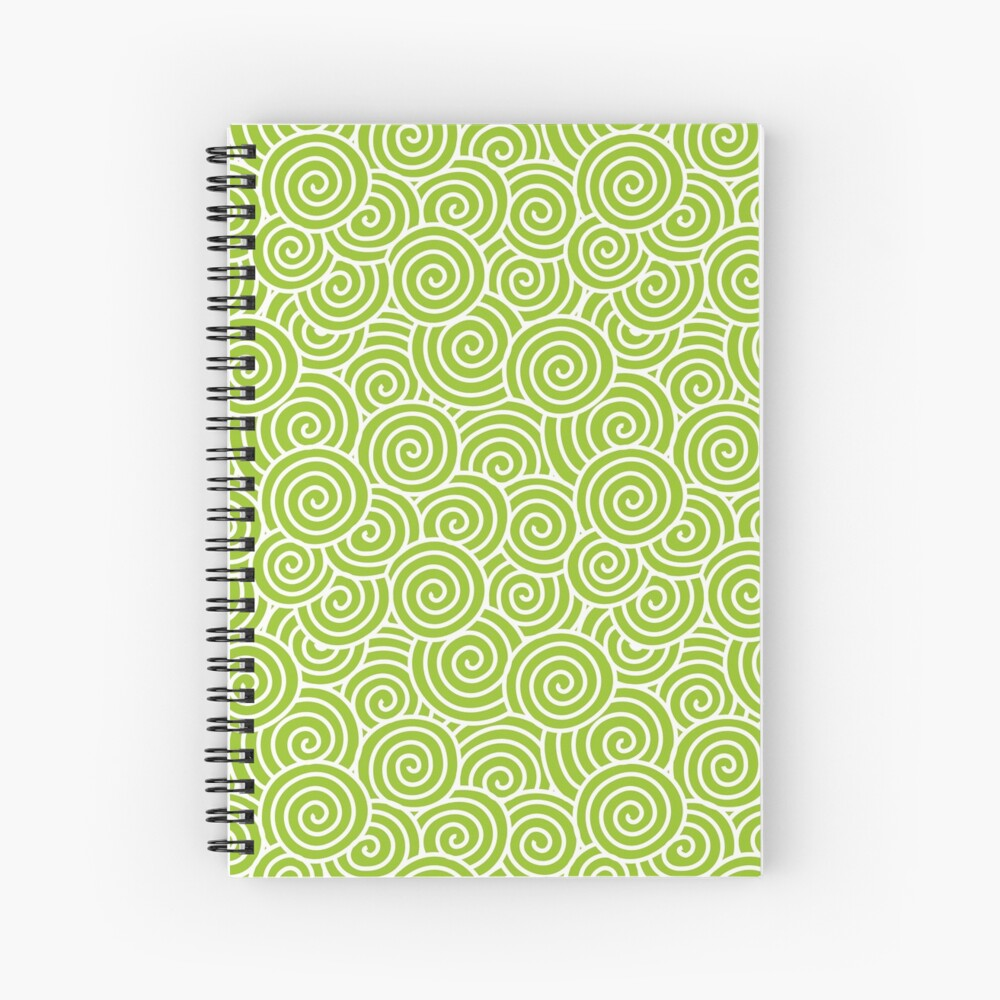 Chinese Spiral Pattern | Swirls | Lime Green and White |  Spiral Notebook