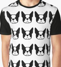 Boston Terrier dogs on the horizontal - black and white Bostons Graphic T-Shirt
