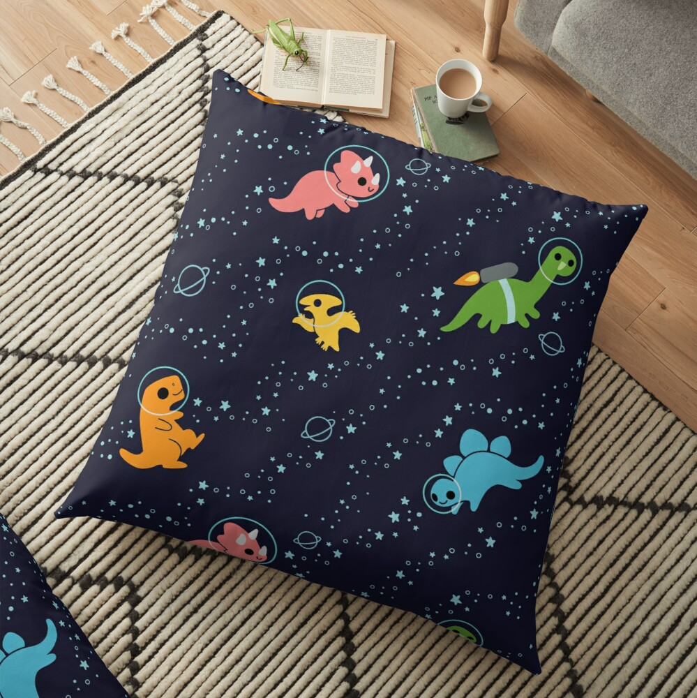 Dinosaurs In Space Floor Pillow