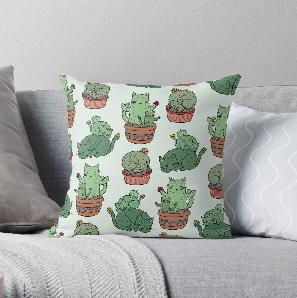 Cactus Cats Throw Pillow