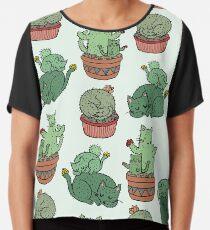Cactus Cats Chiffon Top