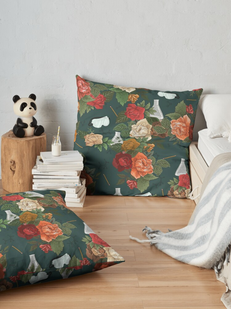 Alternate view of Chemistry Floral Floor Pillow