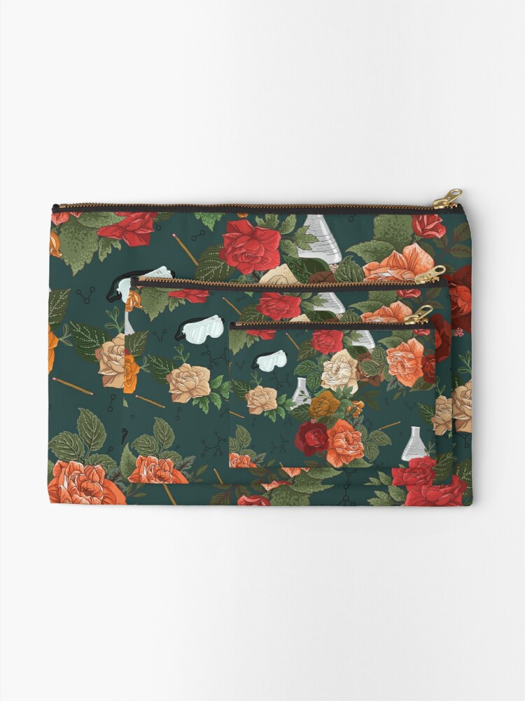 Alternate view of Chemistry Floral Zipper Pouch