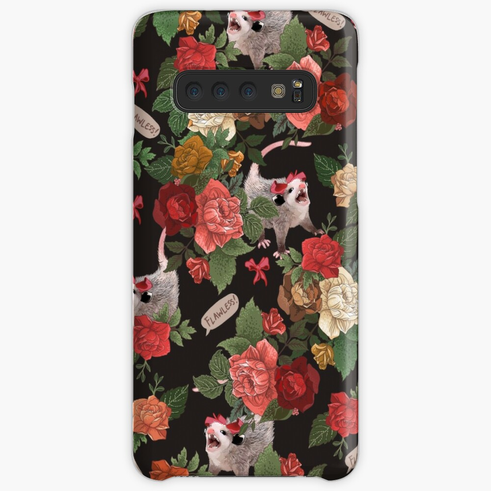 Opossum Floral Pattern (with text) Case & Skin for Samsung Galaxy