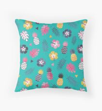 Forever Summer Tropical Pattern on Mint Green Throw Pillow