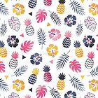 Forever Summer Tropical Pattern on White by daisy-beatrice