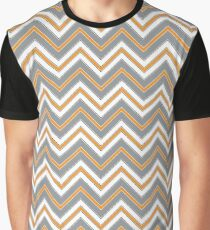 Chevron Pattern | Zig Zags | Orange, Grey, Black and White Graphic T-Shirt