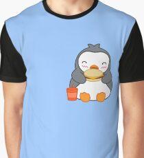 Cute Chubby Penguin Eating Hamburger Graphic T-Shirt