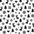 Pixel-Muster - Winter Forest - Schwarz und Weiß von daisy-beatrice