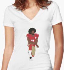 Colin Kaepernick Kneeling  Women's Fitted V-Neck T-Shirt