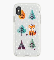 Fox in the Forest - on Gray iPhone Case