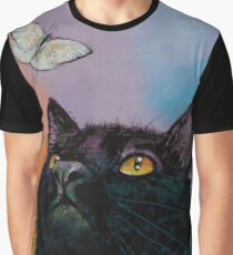 Black Cat Butterfly Graphic T-Shirt