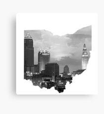 Cleveland Skyline in Ohio Shape Canvas Print