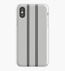 Double Black Racing Stripes on White Carbon Fiber Pattern  iPhone Case/Skin