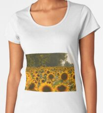 Sunflower Field Warm Photo Women's Premium T-Shirt