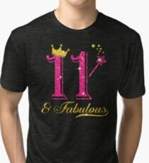 11th Birthday Girl Fabulous Princess Shirt Tri-blend T-Shirt